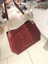 NWT Michael Kors Large Jet Set Chain Studded Shoulder Hobo Bag Cherry Red - $138.99