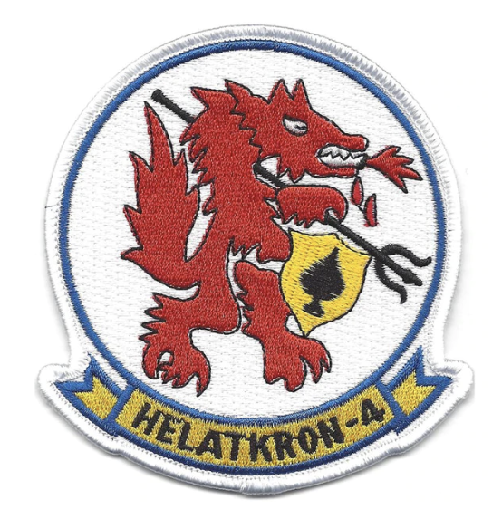 "Primary image for 4"" NAVY HAL HELICOPTER ATTACK LIGHT SQUADRON FOUR REDWOLVES EMBROIDERED PATCH"