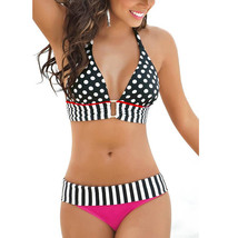 Women RETRO Vintage Sexy High Waist Bikinis Set Swimsuit - $23.83