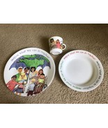Set of 3 Imagine Corelle Plate Bowl Cup Heather Imagine What We can do t... - $29.06
