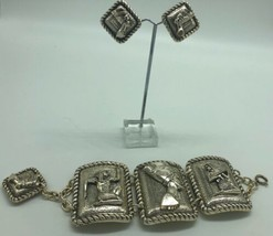 Vintage West Germany Egyptian Revival Bracelet Clip Earring Set Silver U... - $72.48