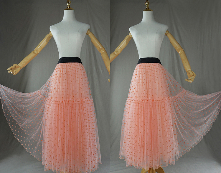 Peach Polka Dot Tulle Skirt Peach Tiered Party Tulle Skirt Holiday Outfit Plus
