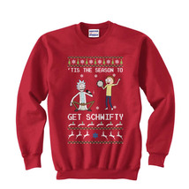Tis The season to Get Schwifty Ugly Sweater Rick and morty Sweatshirt Red - $30.00+