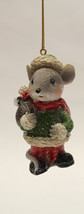 """3.35"""" HAND PAINTED RESIN HOLIDAY MOUSE HOLDING SACK CHRISTMAS ORNAMENT S... - $8.88"""
