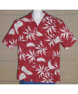 Caribbean Joe Hawaiian Shirt Red White Gray Island Girls Floral Size Large - $23.99