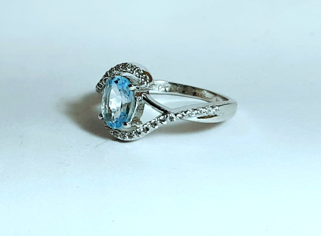 925 Sterling Silver Natural Aquamarine And Cz Gemstone Artistic Design Handmade  image 4