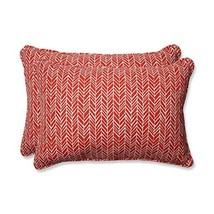 Pillow Perfect Outdoor | Indoor Herringbone Tomato Over-Sized Rectangula... - £46.17 GBP