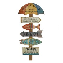 WELCOME TO BEACH Wall Decor Wooden Sign Vacation House Indoor Plaque  - $27.99