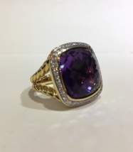 David Yurman Albion Ring with Amethyst and Diamonds in 18K Gold - $3,690.00