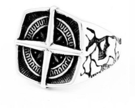Drop Ship Size 7~13 Cool Crack Silver Cross Anchor Ring 316L Stainless S... - $21.39+