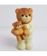 Enesco Ceramic Bear Figurine Child in Pajamas Holding Teddy 1985 Lucy & ... - $12.60