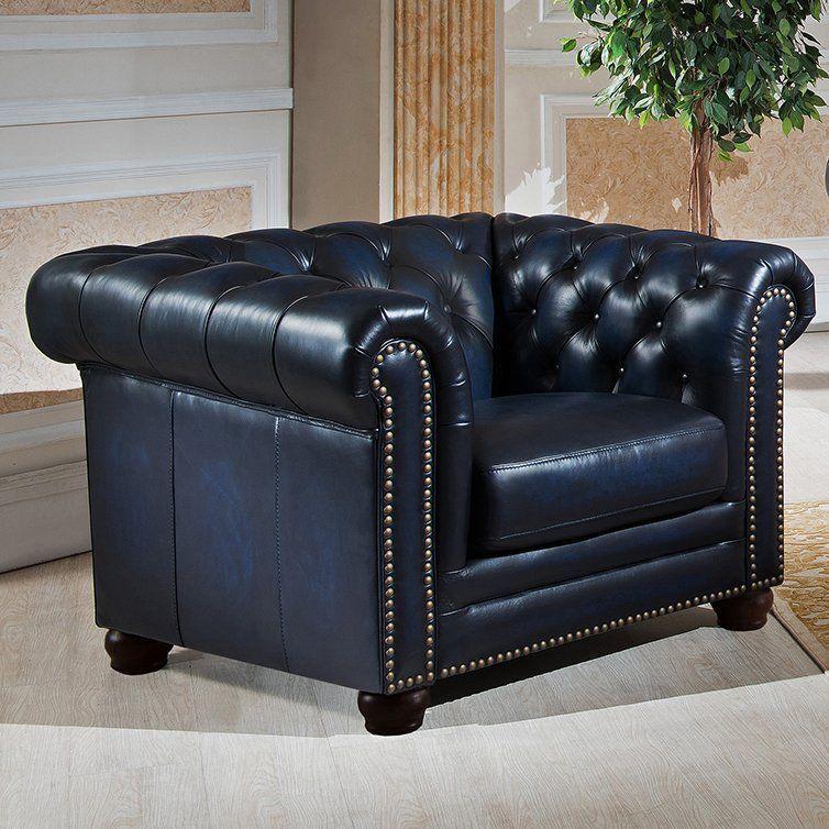 92''L Restoration Style Chesterfield Industrial Genuine Dark Blue Leather Sofa