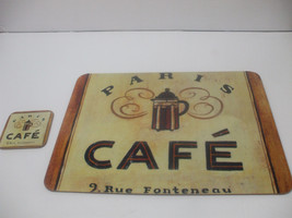 Shabby Chic Corkboard Placemat And Coaster 15 Inches X 13 Inches Paris Cafe - $11.87