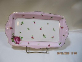 Royal Albert New Country Roses Pink Vintage Rectangular Sandwich Plate - $31.19
