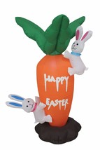 4 Foot Tall LED Easter Inflatable Giant Carrot with Cute Bunny Yard Deco... - ₨4,129.61 INR