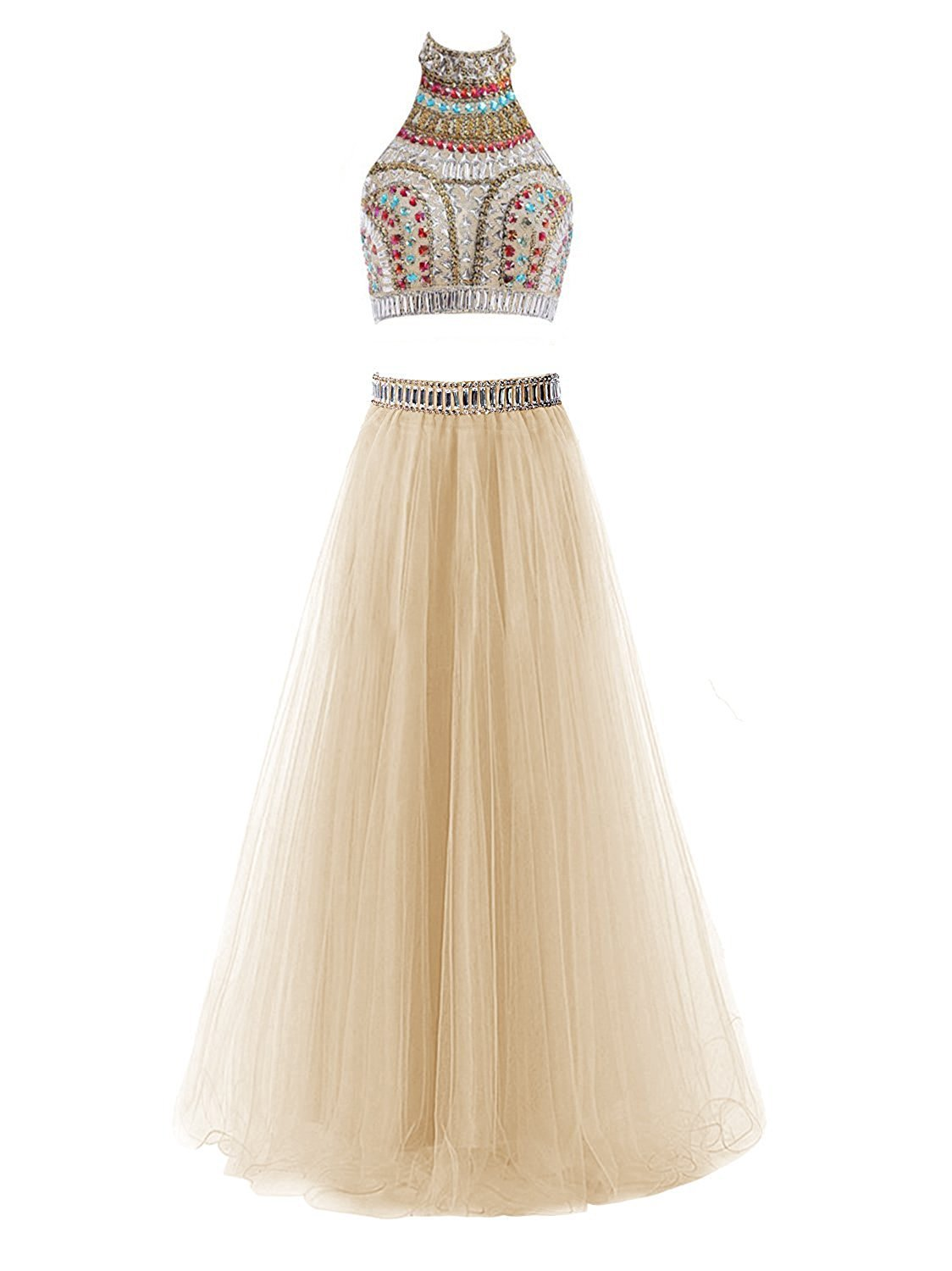 Primary image for Two Piece Halter Prom Dresses Long Tulle Formal Evening Party Gowns With Beads