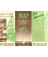 Black Ball Line Brochure with Maps Puget Sound Victoria Vancouver BC 1950's - $14.85