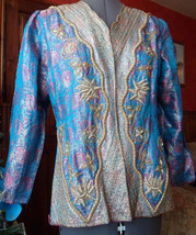 Flamboyant vintage silk jacket, very ornate with metal threading. Fits up to 14. - $58.69