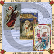 Printable Digital Vintage Christmas Gift Tags  Clip Art  JPEG  Instant D... - $2.50