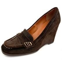 KORS Michael Kors Brown Suede Moe Toe Loafer Wedge Heels Women's Size 8 M - $54.44