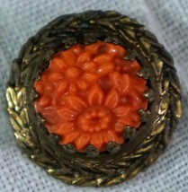Old Coral Flower Brooch Pin - $25.99