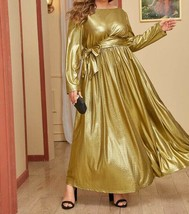 Metallic Belted A-Line Fit and Flare Maxi Dress Plus Size Party Cocktail... - $52.19