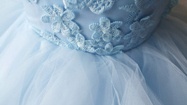 A-Line/Princess Knee-length Flower Girl Dres Blue Tulle/Lace Flowers Puffy 4-16 image 10