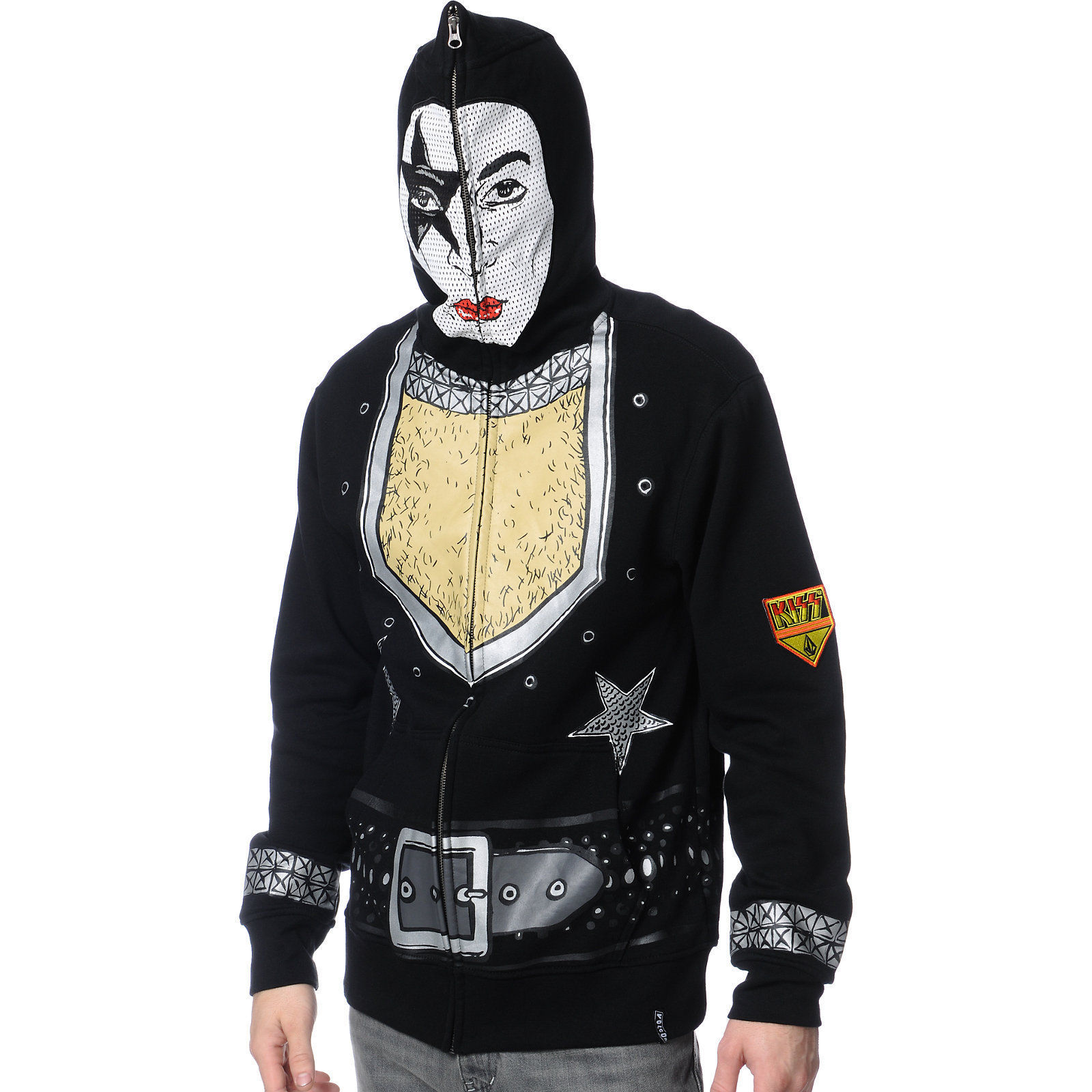 Volcom Kiss Full Face Black Full Zip Hooded Sweat Jacket Hoodie Mens NWT