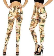 Dinifen Daisy cotton blend leggings Peach stylis Fashion Leggings - $15.95