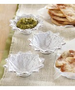 Set of 3 White Glazed Terracotta Holiday Dip Bowls by Mud Pie - $16.77