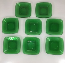 Anchor Hocking Fire King Set of 8 Forest Green Charm Square Saucers Plat... - $39.98