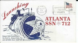 Atlanta (SSN-712) Launching Aug 16 1980 USS Nathan Hale Chap Cachet - $3.47