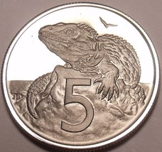 Rare Proof New Zealand 1981 5 Cents~Tuatara~Only 18,000 Minted~Free Ship - $8.31