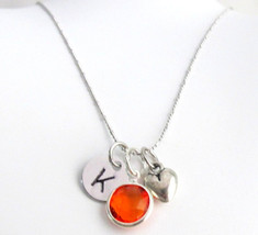 Puffy Heart Initial Birthstone Necklace, Personalized & Birthstone and initial,  - $13.20