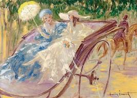 Louis ICart Art Deco Ladies parasol horse drawn cart  5 x 7 photo print - $1.98