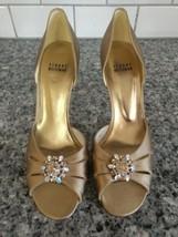 Stuart Weitzman Womens Gold Satin Evening Pumps Embellished Crystal Broo... - $46.04