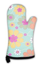Oven Mitt, Vintage With Decorative Flowers - $24.50+