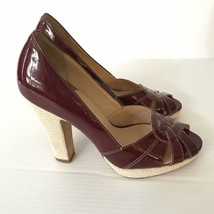 COLE HAAN Collection Womens Ruby Red Maroon Peep Toe Platform Pumps 7.5 - $33.59