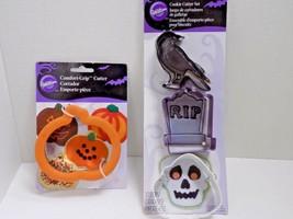 4 Halloween Cookie Cutters Wilton Skull Rip Crow Jack O Lantern Comfort Grip New - $2.47