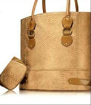 2pc Estee Lauder Lizard-Embossed Caramel Tote Bag with purse - $20.78