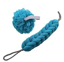 An item in the Home & Garden category: Exfoliating Bath Sponge Mesh Shower Balls & Back Scrubber Strap Blue Body Bath S