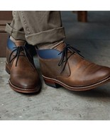 Handmade Men Antique brown Leather Chukka boots, Men Style Leather Casua... - $169.99