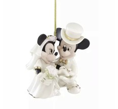 Disney Mickey Minnie Wedding Christmas Ornament Lenox Porcelain Bride Groom 2018 - $44.43
