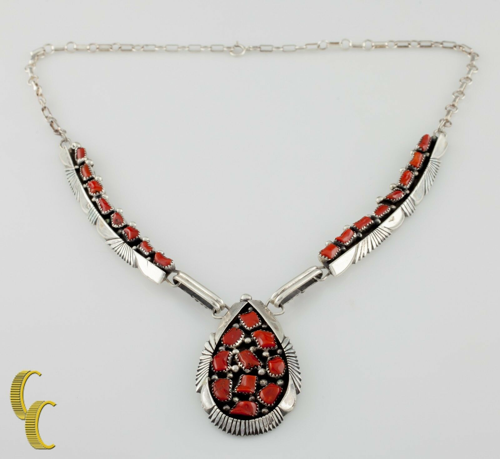 Primary image for Benjamin Piaso Corallo & .925 Argento Sterling Navajo Collana