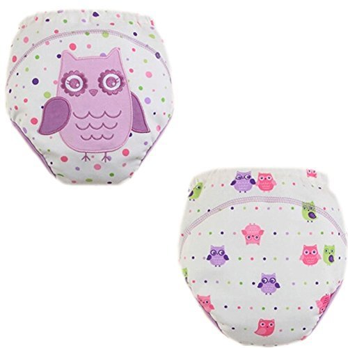 2 PCs Lovely Purple Owl Toddlers Reusable Washable Baby Newborn Diaper Pants M