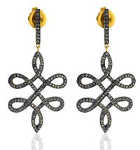 Victorian 3.37ct Rose Cut Diamond Designer Vintage Style Dangler Earrings - $394.57