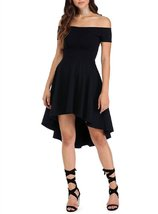 Euro Off Shoulder High-Low Party Dress (X-Large, Black) - $24.95