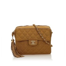 Pre-loved Chanel Brown Hemp Natural Material Matelasse Tassel Chain Bag ... - $1,729.29