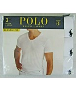 Polo Ralph Lauren 3 Pack White Classic Fit Wicking V-Neck Tee Shirts NEW... - $32.18