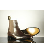 Chocolate Brown Chelsea handmade Leather Boots, Handmade Ankle Boots Mens - $159.97